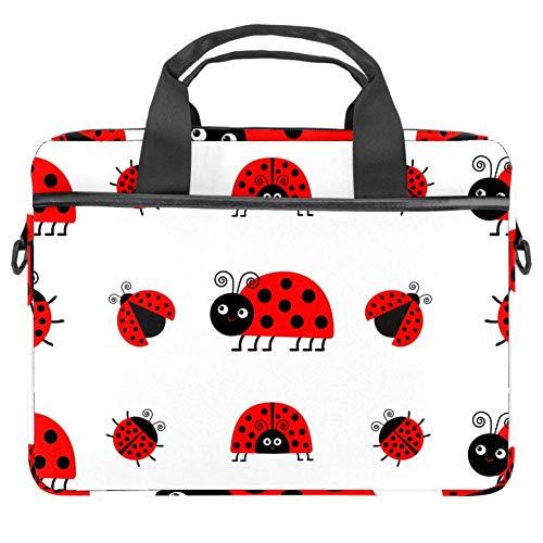 LORVIES Ladybug Marienkäfer Icon Set Lustige Insekten Laptop Tasche Schultertasche Messenger Bag Business Sleeve Tragetasche für 14 bis 15,4 Zoll Laptop Notebook