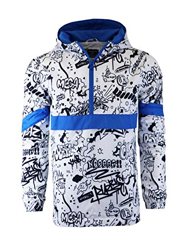 SCREENSHOT-S51051 Hip-Hop Hooded Water Resistant Windbreaker - Outdoor Lightweight Urban Graffiti Cartoon Pattern Pullover Jacket-White-Large