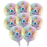 18 Pouces Ballons Mylar en Feuille de Licorne Arc-En-Ciel Pastel pour Fournitures de Décorations de Fête d'Anniversaire de Mariage (8 pièces)