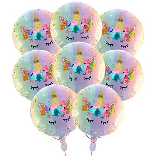 Boao 18 Pulgadas Pastel Rainbow Unicorn Foil Mylar Globos para Fiesta de cumpleaños Wedding Party Decoraciones Suministros (8 Piezas)