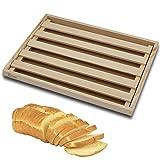 Tabla para Cortar Pan de Madera con Recogemigas, Cortar Pan con Rejilla Extraíble para Migas, Cortar Pan de Madera Natural, Idea para Cualquier Cocina 35 x 25 x 2,5 cm