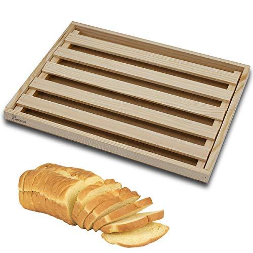 Tabla para Cortar Pan de Madera con Recogemigas, Cortar Pan con Rejilla Extraíble para Migas, Cortar Pan de Madera Natural, Idea para Cualquier Cocina 32 x 22 x 2,5 cm
