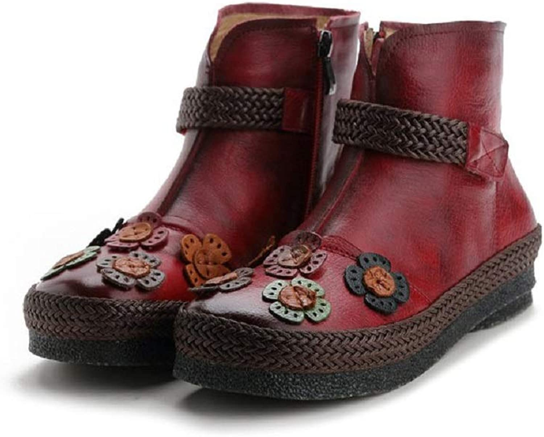 LingGT kvinnor kvinnor kvinnor läder stövlar Flower Flat Vintage Zipper skor (färg  Röd, Storlek  CA 7)  100% fri frakt
