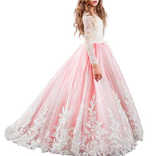 Appliques de encaje vestido de niña de flores para la boda Princesa Vestidos de Dama De Honor Fiesta Tul Bowknot Comunión Cumpleaños Bola Pageant Paseo Baile Maxi Cóctel Fotografía Vestir 2-13