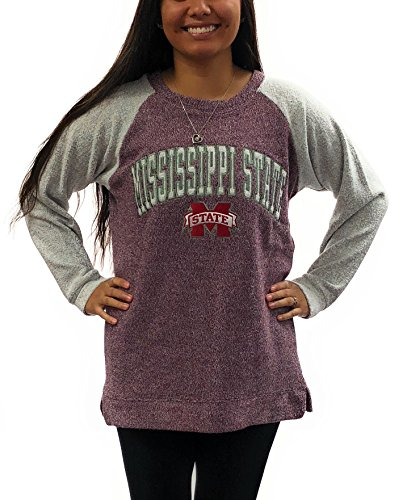 Royce Apparel University of Mississippi State Bulldogs Womens Heidi Comfy Terry Crew Sweatshirt Red