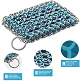 Tapgranz Chainmail Scrubber Pad Cast Iron Cleaner - Skillet, Durable, Flexible Chain Cast Iron Cleaner With Silicone Sponge For Cookware Pans (blue)