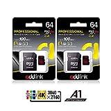 Addlink 64GB 2 STÜCK microSDXC Speicherkarte U3, A1, V30 + Adapter bis zu 100MB/s