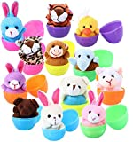 FunsLane Mini Plush Animals Filled Easter Eggs,Small Stuffed Animals, Bright Colorful Large Plastic Toys Set for Party Favors, Kindergarten Gift Giveaway, Goody Bags Filler Carnival Prizes Prize Classroom Rewards for Boys Girls Child Kid(12 pack)