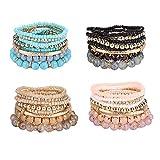 SAILIMUE 4 Sets Bohemian Stackable Bead Bracelets for Women Multicolor Stretch Beaded Bracelets Layered Bead Adjustable Bracelet Pink Black Turquoise Stretch Bracelets