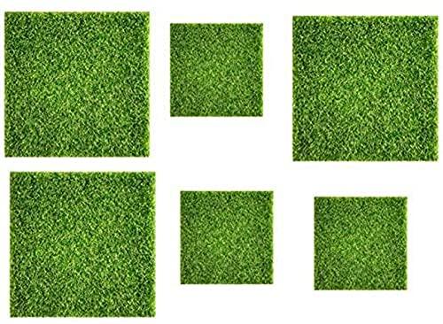 ZCYY Artificial turf, 6 Pieces Of Artificial Turf, Miniature Garden Decoration Artificial Floor 15X15cm / 30X30cm Simulation Grass Artificial Lawn