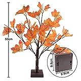 24 LEDs Ahornblatt Baum Licht, 50cm Schreibtisch Ahorn-Blätter (Herbst) Baumlicht Warmweiß,Herbst Dekoration Blätter Lichterketten für Thanksgiving, Weihnachten, Innen Deko - 7