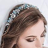 Vakkery Diadema de cristal plateado para novia, accesorios para el cabello para mujeres y niñas