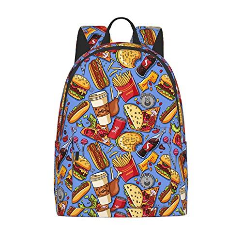 FeHuew 16 inch backpack Fast Food Hamburger Pizza Cola Laptop Backpack Full Print School Bookbag Shoulder Bag for Travel Daypack