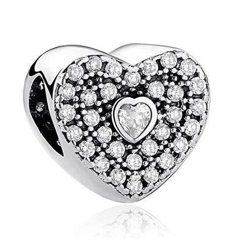 DIY Cuentas De Corazón De Plata De Ley 925 con Brazalete De Amor Romántico De Cristal Compatible con Pulseras Pandora Originales, Colgante De Collar, Fabricación De Joyas