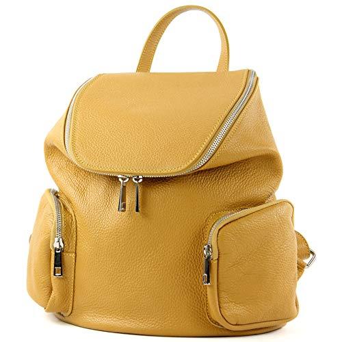 modamoda de - T175 - ital Damen Rucksack Tasche aus Leder, Farbe:Senfgelb