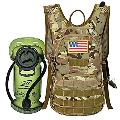 SHARKMOUTH Hydration Pack, Tactical Molle Hydration Pack Backpack 900D with 2L BPA Free Hydration Water Bladder, Military Daypack for Running, Hiking, Cycling, Climbing, Hunting &Working Out, CPTan