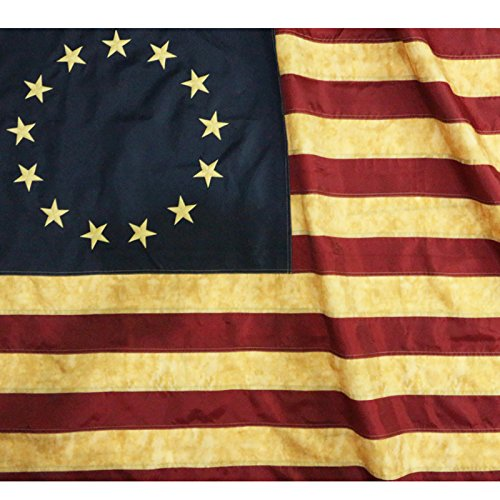 Anley Vintage Style Tea Stained Betsy Ross Flag 3x5 Foot Nylon - Embroidered Stars and Sewn Stripes - 4 Rows of Lock Stitching - Antiqued Early USA Banner Flags with Brass Grommets 3 X 5 Ft