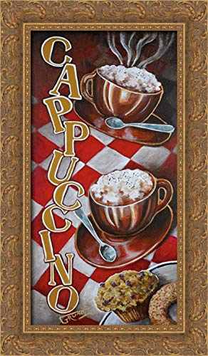 Grundy, Stephen 14x24 Gold Ornate Framed Canvas Art Print Titled: Cappuccino for Two