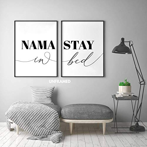 Namastay in Bed Posters, 24 x 36 Inches Prints Unframed