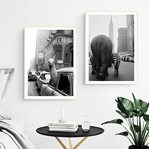 Animal Alpaca Elefante Pinturas en lienzo vintage en carteles e impresiones de la ciudad Cuadros artísticos de pared Sala de estar Decoración para el hogar 50x70cm / 19.7 'x27.6' X2 sin marco