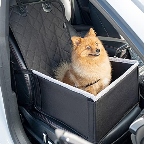 Vicera Auto Hundesitz für kleine & mittlere Hunde, Enorm Stabiler & Komfortabler Hunde Autositz für Vordersitz & Rückbank mit Kissen und Sicherheitsgurt