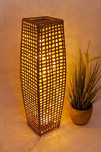Rattan Dekolampe 125 mirco LED'S in Warm Weiß Stehlampe Windlicht IN & Outdoor Nachtlicht Effektlampe