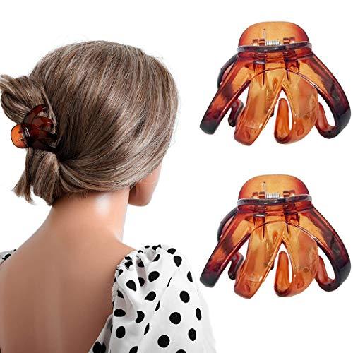 Nicute Haarklammern, Braun, Oktopus, Haarklammer, rutschfest, mittelgroß, Haarklemmen-Set, Haar-Accessoires für Frauen und Mädchen (2 Stück)