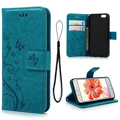 new product 875a1 111ee MOLLYCOOCLE iPhone 6 Case, iPhone 6S Wallet Case (Not for Plus), Blue  Butterfly Flower PU Leather Wallet Purse Credit Card Holders Magnetic Flip  Folio ...
