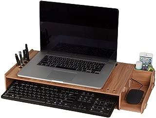 INEKI モニター台 パソコン台 モニタースタンド 木製机上台 机上台 机上ラック デスク モニターラック ディスプレーを高まるラック デスクトップシェルフ 2段式収納 キーボード収納 ペンスタンド ペン立て パソコン ノートパソコン スマホ置き 組立簡単 工具不要 オフィス 事務所 勉強部屋 猫背を防ぐ 幅56cm×奥行28cm×高さ7.5cm 三色選択可能 ブラック・ダークブラウン・ベージュ (ダークブラウン)