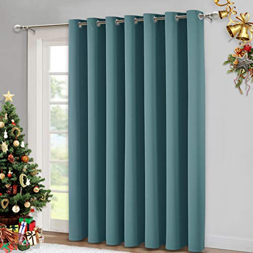 NICETOWN Window Treatment Sliding Door Curtain - Thermal Insulated Wide Width Solid Blackout Patio Glass Door Drape, Extra Wide Draperies (Sea Teal, 100 inches Wide x 84 inches Long)