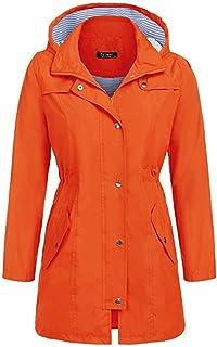 DILY レインコートレディース様々な防水レインコートウエストフード付きロングコートレインコート屋外レインコート女性 (Color : Orange, Size : S)
