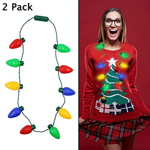 Twinkle Star Christmas Lights Bulb Necklace, Novelty Gifts for Women Kids, Ugly Xmas Sweater Accessories Holiday Party Supplies, 2 Pack