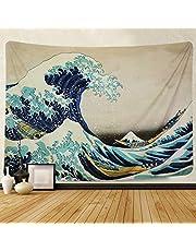 Amkun Tapiz de pared para colgar en la pared, gran ola Kanagawa, tapiz de pared con decoración para el hogar, sala de estar, dormitorio o decoración, Wave, 200x150cm