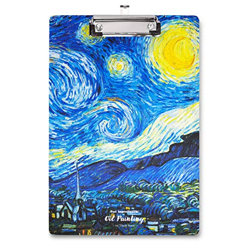 WAVEYU Clipboard, Cute Decorative Letter Size Clipboard, Low Profile Paperboard Chic Design Clipboard for Students Nurse School, Home, or Office Supplies(12.5'x8.5'), Starry Night