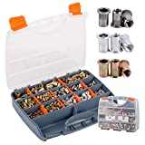 TR TOOLROCK 1010pcs Rivet Nut Assortment Kit, Stainless Steel, Steel and Aluminum M3-M12 Metric Flat Head Threaded Insert Rivet Nuts Set with Rugged Carrying Case