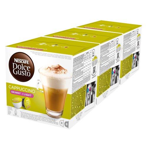Nescafé Dolce Gusto Cappuccino light, weniger Kalorien, Kaffee, Kaffeekapsel, 3er Pack, 3 x 16 Kapseln (24 Portionen)