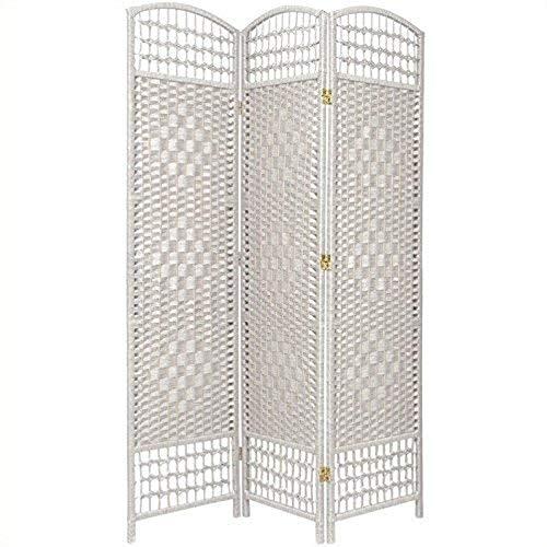 Oriental Furniture 5 1/2 ft. Tall Fiber Weave Room Divider - White - 3 Panel