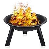 INTEY Feuerschale in Garten Feuerstelle Feuerkorb(55.5 * 31.5cm) mit Stativ, Abriebfest und Langlebig, Bequeme Outdoor-Grill Heizung Werkzeug
