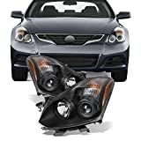 For [JDM Style] 2010 2011 2012 2013 Altima 2 Door Coupe Black Halogen Type Projector Headlights Pair Set