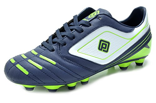 DREAM PAIRS 151028 Men's Sport Flexible Athletic Free Running Light Weight Indoor/Outdoor Lace Up Soccer Shoes Navy-WHT-N.Green Size 8.5