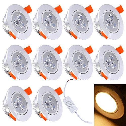 HJ® 10 Stück 3W LED Einbaustrahler für den Wohnbereich Warmweiß Einbauspots | Flach | Rund | Einbauleuchten 230V