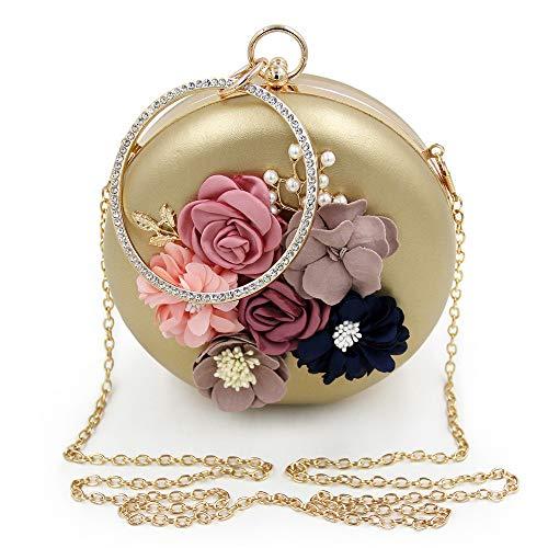 Evening Clutch-Bag für Frauen Frauen Runde Hand-Wunde Blume Perlen Abendtasche Hochwertige Diamant-verkrustete Perle Abendtasche Braut Ball Handtasche (Farbe : Gold)
