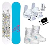 Millinium Three M3 Star Snowboard & Symbloic White Bindings & Venus Boots & Leash & Stomp & Burton Decal Package (140cm M3 Star Snowboard, Size 4 Kids Boots & White Bindings)