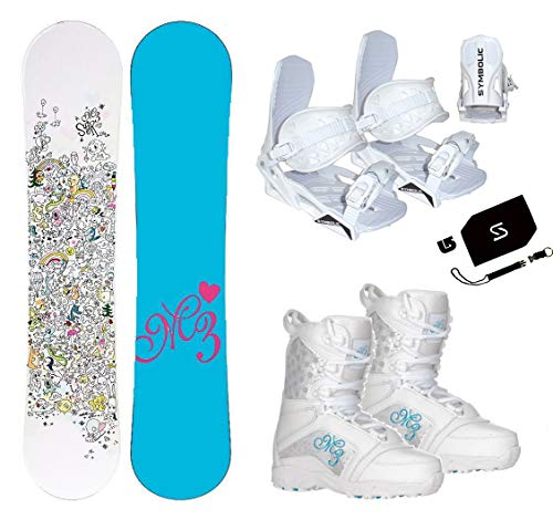 Millinium Three M3 Star Snowboard & Symbloic White Bindings & Venus Boots & Leash & Stomp & Burton Decal Package (140cm M3 Star Snowboard, Size 6 Kids Boots & White Bindings)