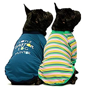 Fitwarm 2-Pack Valentines Day I Woof You St Patricks Day Easter Day Dog Shirt for Pet Clothes 100% Cotton Puppy T-Shirts Cat Tee Breathable Stretchy Costumes
