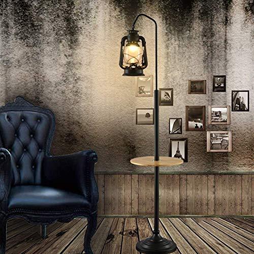 DXXWANG Floor Lamp Reading Decorative Lights,Standing Light American Retro Vintage Kerosene Industrial with Wood Shelf for Living Room Bedside