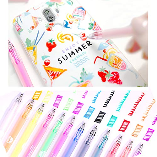 3D Glossy Jelly Ink Pen Set, DIY Highlighters 3-Dimensional Gel Pens for Adult & Kids Coloring, Waterproof & Fade-proof Colorful Ballpoint Pens for Writing Painting Journaling Taking Notes 12PCS