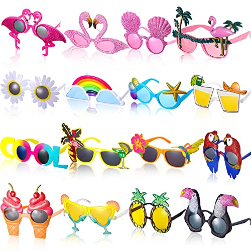 16 Pairs Funny Luau Party Sunglasses Novelty Hawaiian Glasses Tropical Fancy Eyeglasses Beach Party...