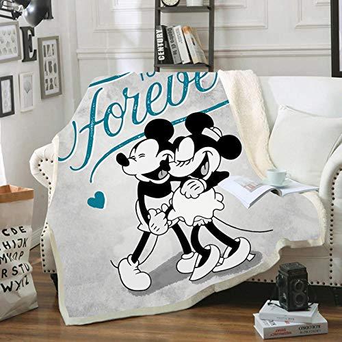 KHDFID Mickey & Minnie Mouse Fleecedecke für Erwachsene und Kinder, warme Decke, Sofa, Stuhl, weich, 3D-Druck (B,150 x 200 cm)