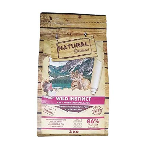 NATURAL GREATNESS - Pienso para Gatitos y Gatos Adultos SIN Cereales previene Bolas de Pelo. Saco 2 Kg   ANIMALUJOS